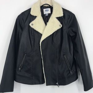 Old Navy Faux Leather Jacket with Sherpa collar.